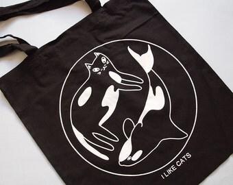 Black Orca Cat Tote Bag - Tote bag - Cat tote bag - Cat bag - I like Cats - Screen printed tote bag - Cats - tote bag - Orca - Wale tote