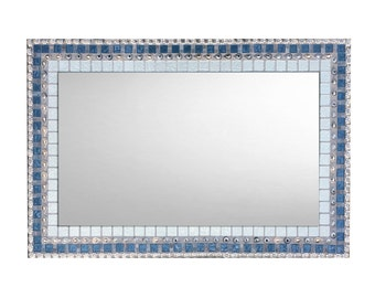 Mosaic Mirror Bathroom Large Wall Silver And Blue