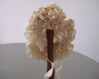 Antique French. Christening Bonnet, Baby bonnet. Hand made,Silk lace and ribbon work. Family Heirloom.