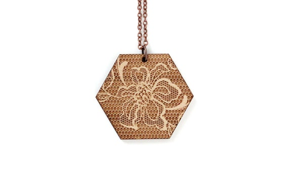 Hexagon pendant with lace pattern - romantic necklace - graphic jewelry - wedding jewellery - lasercut maple wood - statement necklace