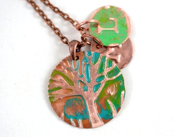 Personalized Mom Necklace Initial Family Tree Copper Tree Of Life Pendant Initial Necklace Copper Jewelry Mothers necklace Initial Jewelry