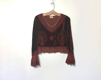 90s Blous 80s shirt Boho Sweater Festival Clothing Rust Brown Cropped Revival Velvet Blouse Embroidered Dress Shirt Ethnic India Small Med F