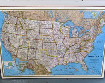 Laminated Maps Etsy - Large laminated us map