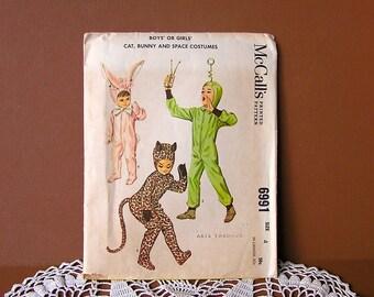 Child's Costume Sewing Pattern -  Vintage 60s Boys Girls Costume Pattern . Green Martian . Wild Cat . Bunny Rabbit . chest 23 waist 21 . cut