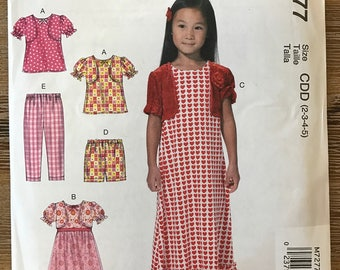 UNCUT Girl's Top, Gown, Shorts, Pants Sewing Pattern McCall's 7277 Size 2-3-4-5-6-7-8 Summer, Easy, School Clothes, Maxi Dress, Flower Girl