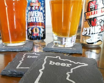 Minnesota Craft Beer Tent Slate Coasters - Mancave, Garage, Fathers Day, Beer Lover, Mens Gift