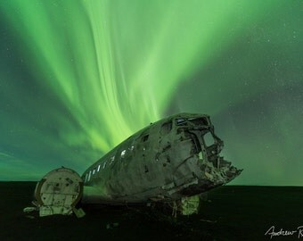 Iceland DC-3 Photograph - Iceland, Aurora Borealis - Northern Lights Print, Solheimasandur, Astrophotography, Night Sky, Airplane Crash