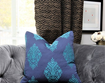 Schumacher Pillow Cover - Zinda Embroidered Blue and Teal Medallion -  Paisley Pillow Cover - Turquoise Blue Pillow Cover