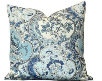 Schumacher Timothy Corrigan Pickfair Paisley Pillow in Blue