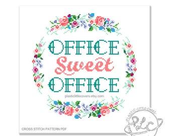 Office Sweet Office. Modern Floral Cross Stitch Pattern. Funny. Digital Download PDF.