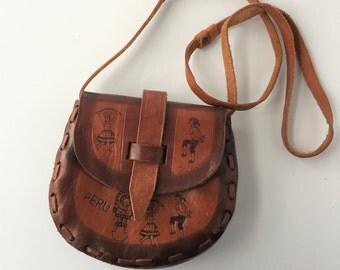 Peruvian Leather Purse, Vintage Tooled Leather Shoulder Bag, Brown Leather Peru Souvenir Purse, Small 1970s Hippie Boho Purse Cross Body Bag