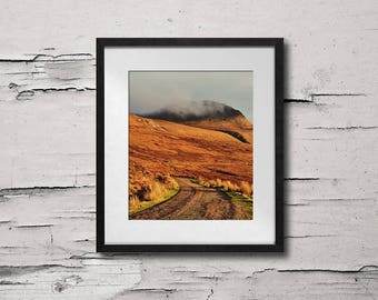 Large Photography, Mountain Art Print, Landscape Photography, Scotland, Road Art, Mountain Wall Art, Mountain Photography - Sunny Road