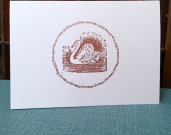 SWAN, Handmade, Copper, Embossed, White, Folded Card, Envelope, Blank, Message, Decorative, ROUND BORDER, Vintage Printing Supplies