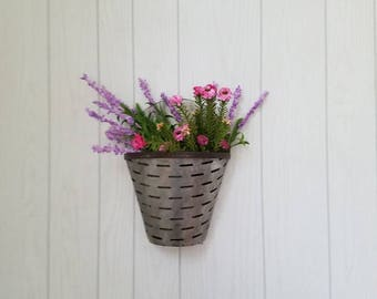 Metal Wall Planter 2 galvanized metal wall pocket wall planter farmhouse wall