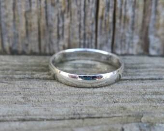 Vintage 3mm 925 Sterling Silver Ring