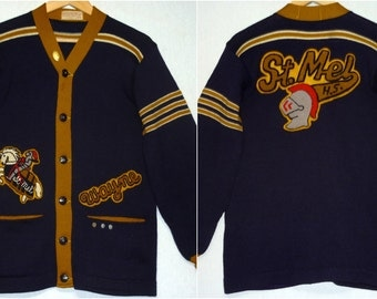 1960s Sweater / S - M / 38 / St Mel High School / Chicago / Letter Sweater / Rockabilly Sweater / Varsity Sweater / Knight/ Football