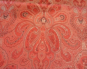 Red and Silver Brocade fabric