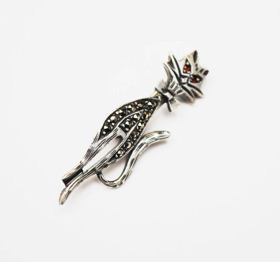 Sterling silver Cat Brooch - marcasites -Red rhinestone eyes- feline kitty  pin
