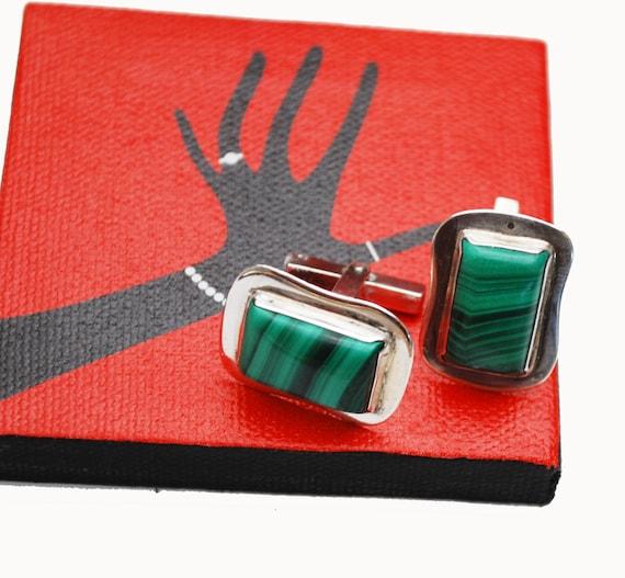 Sterling Malachite Cuff link - Green Gemstone  - Retangle   cufflink