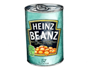 Heinz Beanz Giclée Print - Food Art - Kitchen Art - Beans - Pen and Ink - Cans