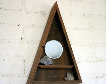 Triangle Shelf Mirror Display // Pyramid Crystal Curiosity Cabinet Vanity