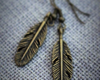Free Shipping on Simple Brass Feather Earrings