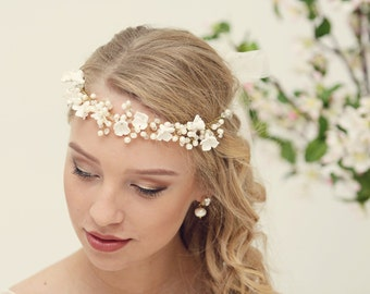 Bridal hair accessories Pearl hair vine Bridal headpiece Wedding headpiece Pearl flower crown Bridal headband Pearl crown