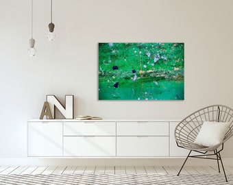 Green abstract photography print on canvas - Huge wall art on canvas - House warming gift