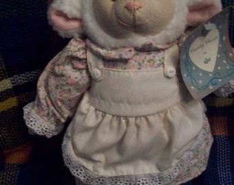 Country Classics by Russ Berrie Plush Lamb in Country Dress