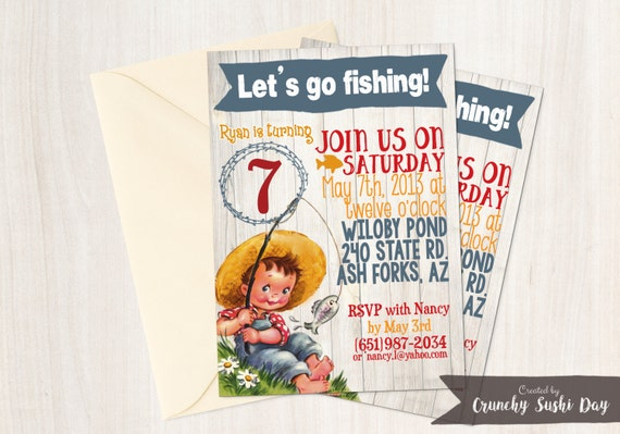 Vintage Fishing Customizable Birthday Invitations, Boy Birthday Invitations, Fishing birthday party, Printable Invitations