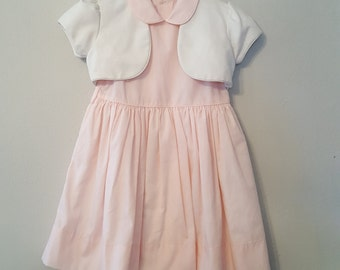Vintage Girls Pink Dress and White Cropped Jacket  - Size 6 - New, never worn