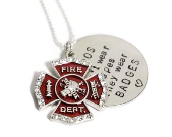 Firefighter Wife - Necklace - My Hero - Maltese Cross - Personalized - Firefighter Mom