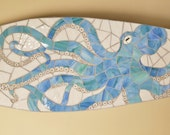 Surfboard Octopus Mosaic, Beach House Art Hang Vertical or Horizontal, Stained glass on wood 5ft Coastal art, Octopus Art, Sea Creature