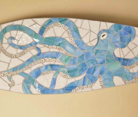Surfboard Octopus Mosaic, Beach House Art Hang Vertical or Horizontal, Stained glass on wood 5ft Coastal art, Octopus Art, Sea Creature