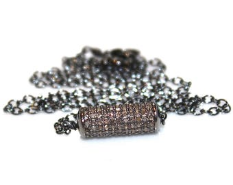 Diamond Tube Necklace Black Gold Necklace Black Diamond Necklace Diamond Necklace Diamond Jewelry Stacking Necklace Pave Necklace Pave Tube