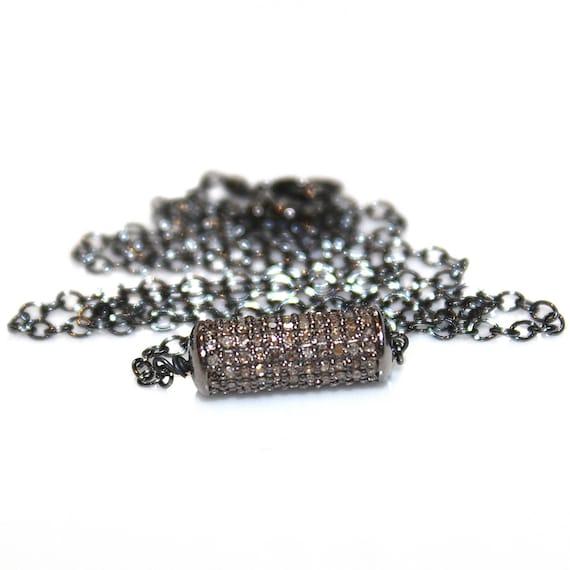 Diamond Tube Necklace in Black Gold