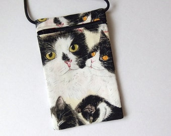 TUXEDO CAT Pouch Zip Bag.  Great for Walkers, markets, travel. Cell Phone Pouch. Small fabric purse. Black White cat bag. cross body bag