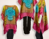 Brown & pink spiral hand painted shirt, womens tunic, plus size womens clothes, oversized off shoulder blouse, one size fits all silk caftan