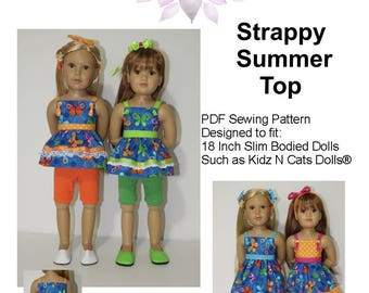 "Strappy Summer Top PDF Pattern for 18"" Slim Bodied Dolls Such as Kidz N Cats"