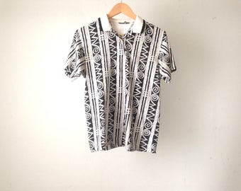 VERSACES style 90s baroque color block FLORAL striped oversize polo henley shirt