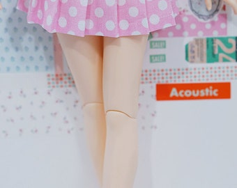 BJD Pleated Skirt - Slim MSD Minifee or SD - Light Pink with White Dots