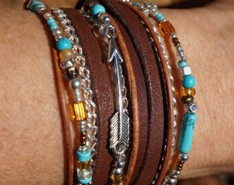 Boho Endless Leather Wrap Bracelet - Suede, Silver Arrow