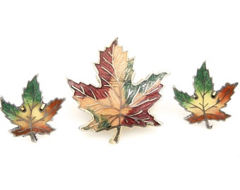 Maple Leaf Sterling Silver Enamel Earrings and Gold Tone Brooch - Multicolor - Canada - Vintage - Fall Leaves - Colorful Leaf # 4364