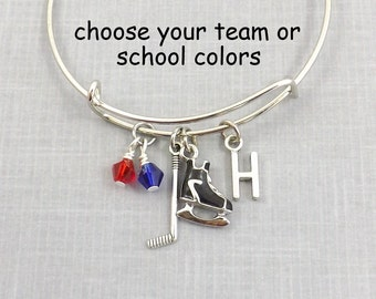 Hockey Bracelet, Hockey Bangle, Hockey Gift, Ice Hockey Charm, Hockey Mom, School Colors, Personalized Team Gift, Coach Gift, Team Jewelry