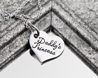 Daddy's Princess - Hand Stamped Stainless Steel Heart Necklace - Daddy Daughter Jewelry - Dad's Little Girl Gift - Graduation Present