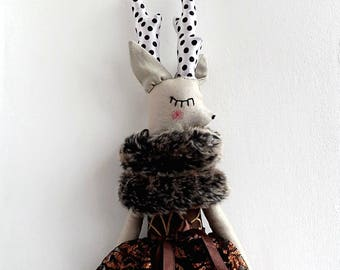 """Fawn Girl Doll, Deer Doll, 25,59"""" Doll, Rag Doll,  Handmade Doll, OOAK Doll, Cloth Art Doll, Heirloom Doll"""