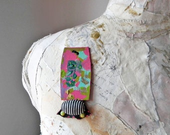 Contemporary paper brooch Scarf pin Unique contemporary brooch with Big bead Hand painted jewelry Abstract jewelry Wearable art Art brooch