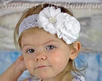 White Baptism Headband, Baby Headband, Infant Headband, Newborn Headband, Christening Headband, White Headband, White Baby Headband