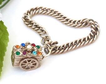 Rhinestone Wagon Bracelet ~ Colorful Vintage Faux Pearl Charm Pendant w/ Rhinestones ~ Moving Wheels