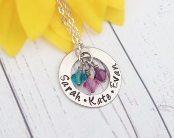 Mothers Day Necklace - Personalized Hand Stamped Mom Necklace - Christmas Gift for Mom - Mothers Necklace - Grandma Necklace - Mom Jewelry